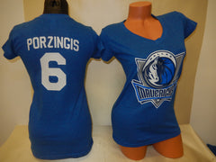 Womens Dallas Mavericks KRISTAPS PORZINGIS Basketball Shirt BLUE