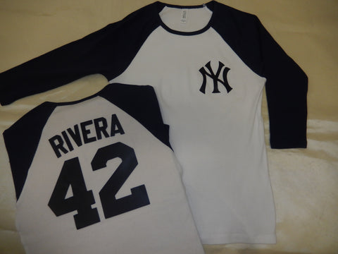 Womens New York Yankees MARIANO RIVERA 3/4 Sleeve Baseball Jersey Shirt White/Navy