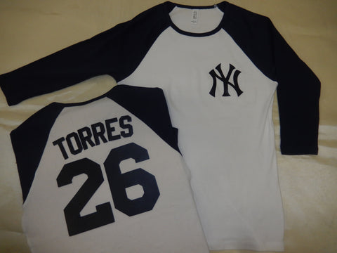 Womens New York Yankees GLEYBER TORRES 3/4 Sleeve Baseball Jersey Shirt White/Navy