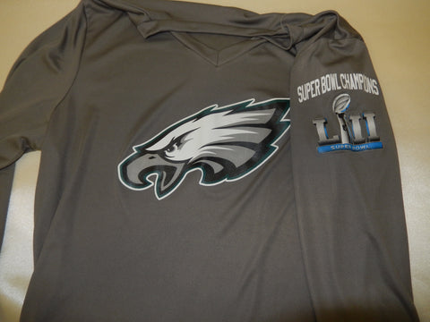 WOMENS Philadelphia Eagles Super Bowl 52 LII Team Logo Long Sleeve Dri Fit SILVER