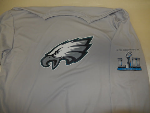 "Philadelphia Eagles ""NFC Champions"" Super Bowl 52 LII Dri Fit Long Sleeve Shirt SILVER"