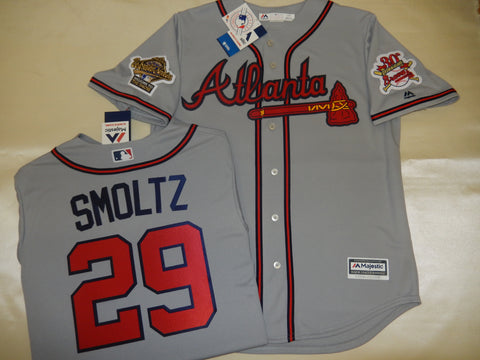 1995 World Series Atlanta Braves JOHN SMLOTZ Gray Jersey