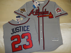 1995 World Series Atlanta Braves DAVID JUSTICE Gray Jersey
