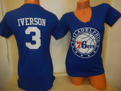 Womens Philadelphia 76ers ALLEN IVERSON Basketball Shirt BLUE