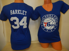 Womens Philadelphia 76ers CHARLES BARKLEY Basketball Shirt BLUE