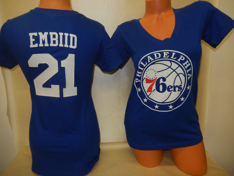 Womens Philadelphia 76ers JOEL EMBIID Basketball Shirt BLUE