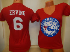 Womens Philadelphia 76ers JULIUS ERVING Basketball Shirt RED
