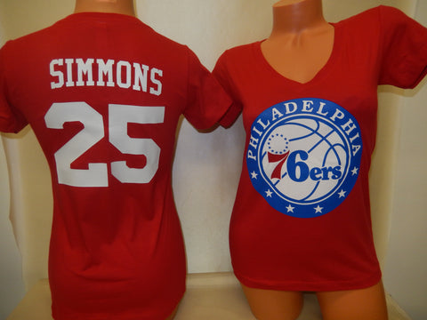 Womens Philadelphia 76ers BEN SIMMONS Basketball Shirt RED