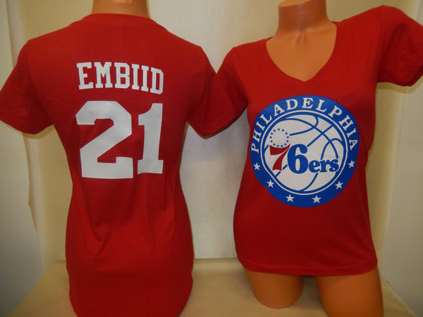 Womens Philadelphia 76ers JOEL EMBIID Basketball Shirt RED