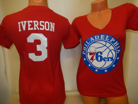 Womens Philadelphia 76ers ALLEN IVERSON Basketball Shirt RED