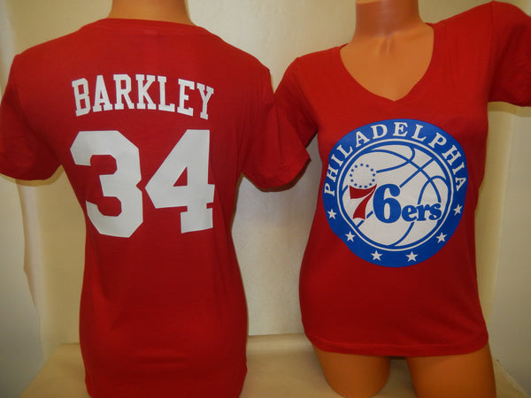 Womens Philadelphia 76ers CHARLES BARKLEY Basketball Shirt RED