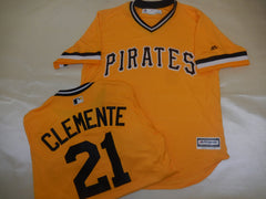 Majestic VINTAGE Pittsburgh Pirates ROBERTO CLEMENTE Baseball Jersey GOLD