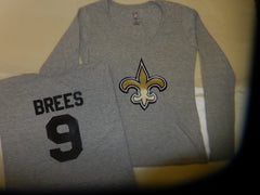 WOMENS New Orleans Saints DREW BREES Football Eligible Receiver Shirt GRAY