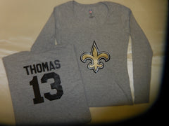 WOMENS New Orleans Saints MICHAEL THOMAS Football Eligible Receiver Shirt GRAY