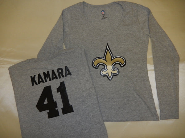 WOMENS New Orleans Saints ALVIN KAMARA Football Eligible Receiver Shirt GRAY