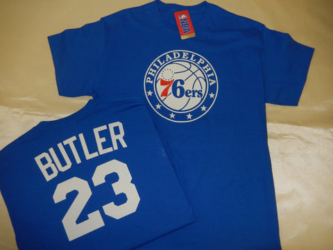 Philadelphia 76ers JIMMY BUTLER Name and Number Shirt BLUE