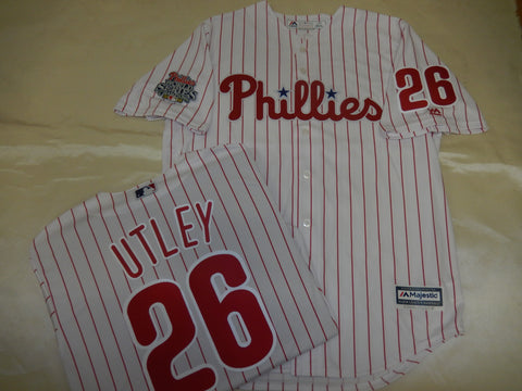 2008 World Series Champions Philadelphia Phillies CHASE UTLEY Baseball Jersey White Pinstripes
