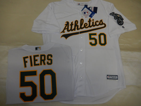 Oakland A's MIKE FIERS Baseball Jersey WHITE
