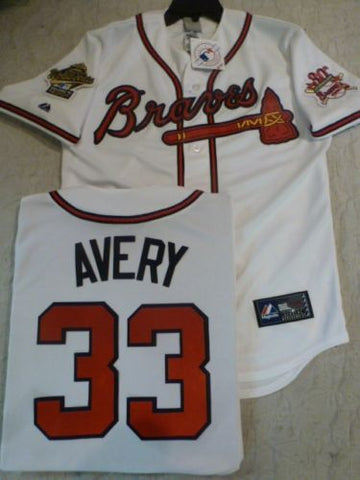 1995 World Series Atlanta Braves STEVE AVERY White Jersey