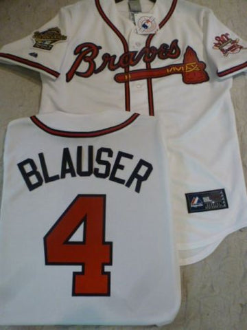 1995 World Series Atlanta Braves JEFF BLAUSER White Jersey