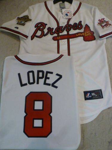 1995 World Series Atlanta Braves JAVIER LOPEZ White Jersey
