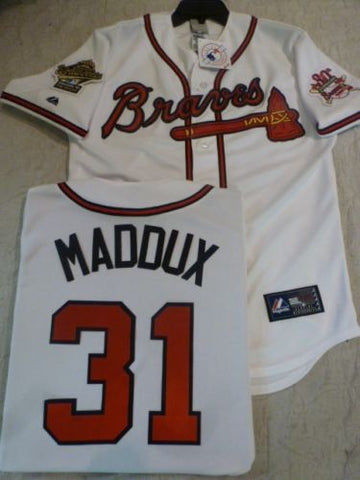 1995 World Series Atlanta Braves GREG MADDUX White Jersey