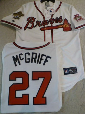 1995 World Series Atlanta Braves FRED McGRIFF White Jersey