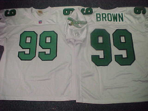 Philadelphia Eagles JEROME BROWN Sewn Throwback Vintage Football Jersey WHITE