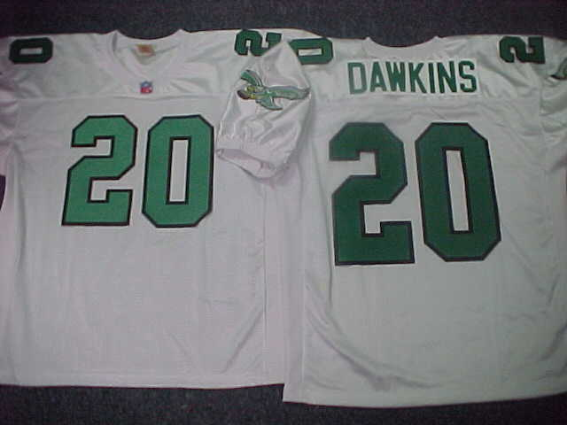 fb60bc83700 Philadelphia Eagles BRIAN DAWKINS Sewn Throwback Vintage Football Jersey  WHITE