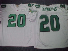 Philadelphia Eagles BRIAN DAWKINS Sewn Throwback Vintage Football Jersey WHITE