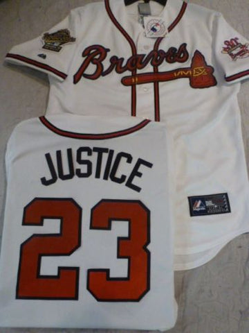 1995 World Series Atlanta Braves DAVID JUSTICE White Jersey