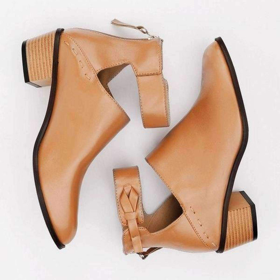 Chunky Heel Booties-Boots Collection-Chic Zen