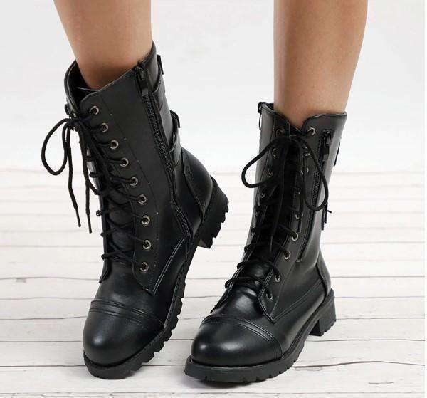 Mid Calf Leather Boots-Boots Collection-Chic Zen