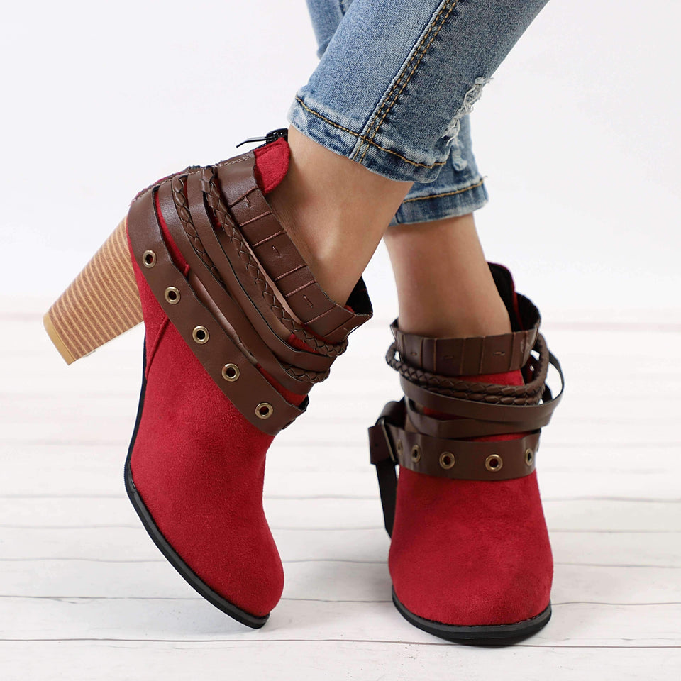Multi-belt Chunky Heel Ankle Boots-Boots Collection-Chic Zen