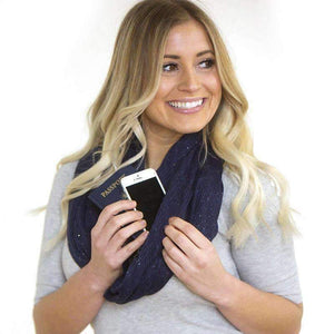 SHOLDIT Shimmer Convertible Infinity Scarf With Pocket-Scarves-Chic Zen