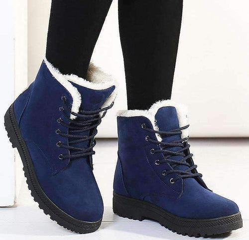 Suede Lace-Up Snow Boots-Boots Collection-Chic Zen
