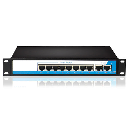 10-Port Gigabit 8+2 POE Switch 15.4W,2 fixed VLAN, long distance