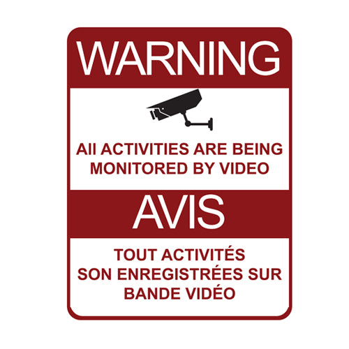 Warning Security Surveillance Signs Metal Galvanized (8.5 X 11) inch (21.5 X 28)mm