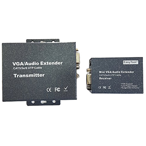 1-Port VGA Audio/Video CAT5 Transmitter and Receiver