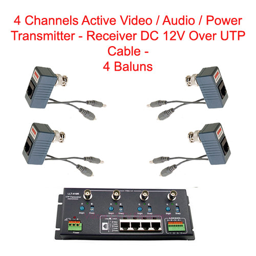 4-CH Active Video/Audio/Power Transmitter / Receiver DC 12V Over UTP Cable