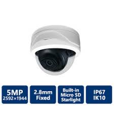 5MP STARLIGHT TRUE WDR IR DOME NETWORK CAMERA, 2.8MM FIXED LENS
