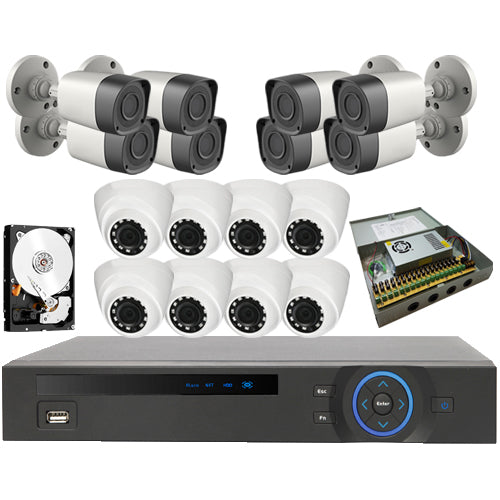 Kit 16 - HD CVI 1MP 720P - CVR Penta-Brid HD 16 Port System Kit
