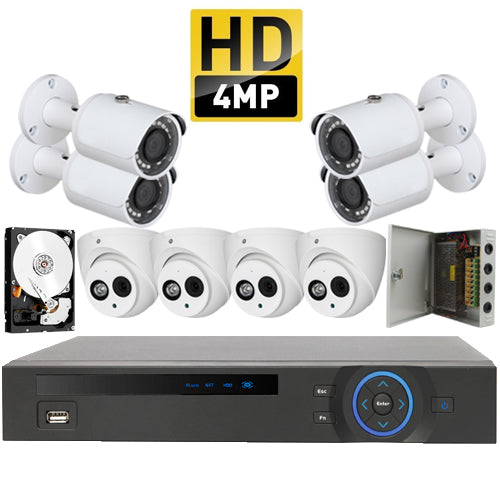 Kit 8 - HD CVI 4MP 50m - CVR Pentabrid Full HD 8 Port System Kit