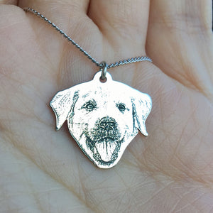 Personalized and Engraved Pet Photo Necklace - Silver Plated