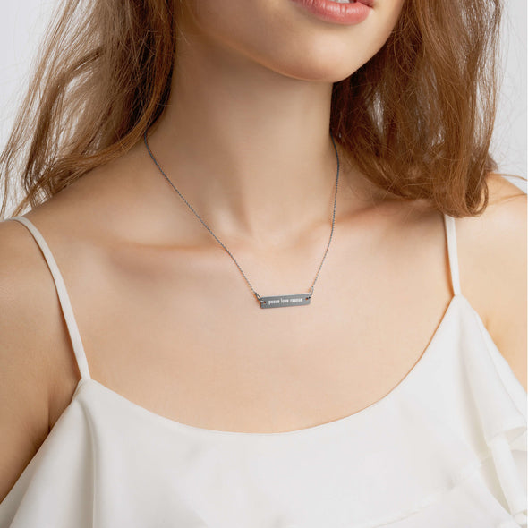 Peace Love Rescue Nickel Free Bar Necklace - 4 Colors