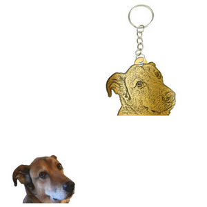 Personalized and Engraved Pet Photo Brass Keychain