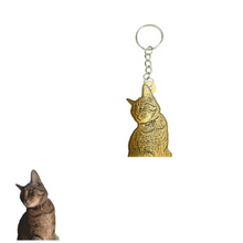 Load image into Gallery viewer, Personalized and Engraved Pet Photo Brass Keychain