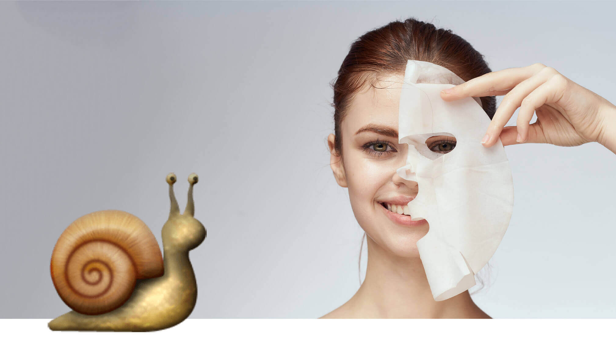 Woman holding a snail sheet mask next to face