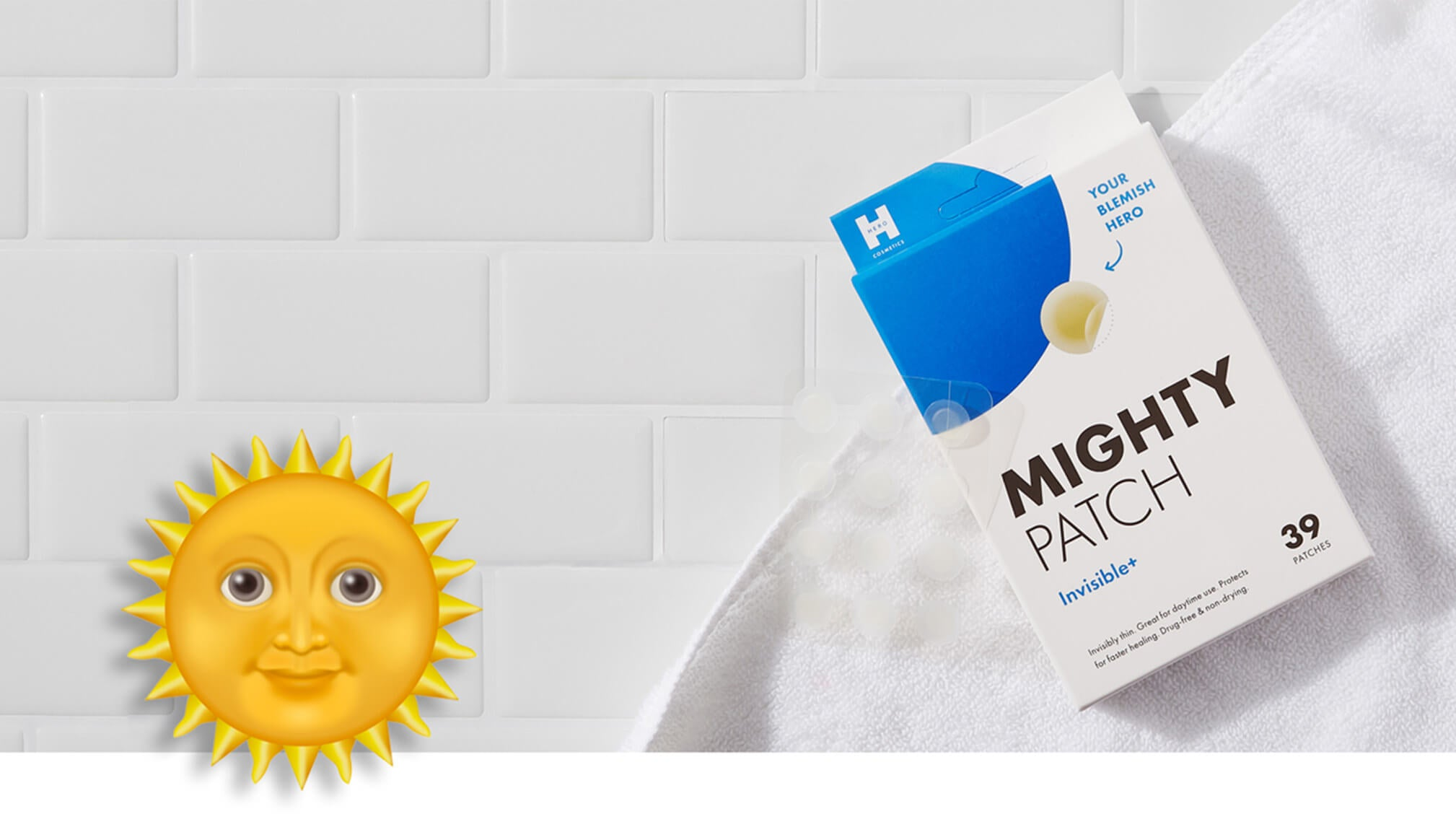 Mighty Patch Invisible+ box on top of white towel