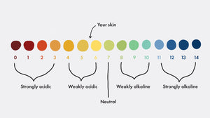 pH scale from 1-14. Less than 7 means acidic, above 7 is alkaline, 7 is neutral, skin's optimal ph is 5.5